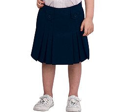 French Toast Little Girls' Pleat and Tab Skirt - navy, 4