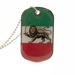Iran Persian Lion Country Flag Dog Tag Metal Necklace with 14 Inch Chain ... New