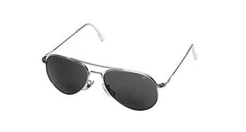 AO Flight Gear General Sunglasses, Wire Spatula, Silver Frame, True Color Gray Glass Lens, 52mm,