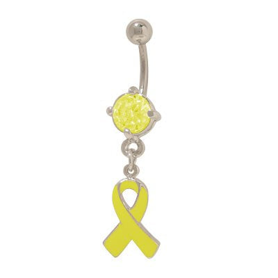 Yellow Ribbon Support Our Troops Belly Ring with Prong Set Jewel