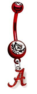 Alabama Crimson Tide  Glitter  PREMIUM Red Titanium Anodized Sexy Belly Button Navel Ring