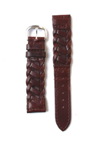 18mm Brown Italian Handmade Braid Calfskin Leather Watchband with Nubuck Lining and S/S Buckle