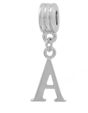 Jewelry Monster Silver Finish Dangling  Letter A  Charm Bead for Snake Chain Charm Bracelet 8438