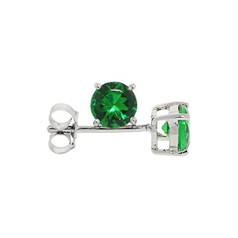 Sterling Silver Cubic Zirconia Emerald Earrings Studs Green Color 5 mm Platinum Coated Basket Setting 1 carat/pr