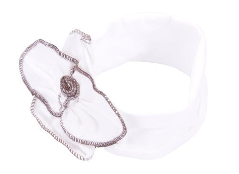 Simplicity Baby Hair Accessories Wide Headband w/ Large Ruched Flower, 15.7