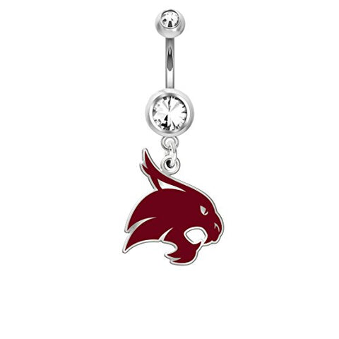 Texas State University Bobcats Belly Navel Ring in Color Logo Stainless Steel and Sterling Silver