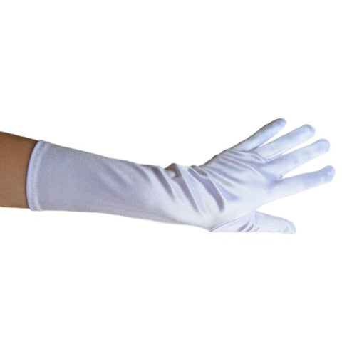 White Satin Gloves (Elbow Length) ~ Formal, Wedding, Theatrical, Costume Party