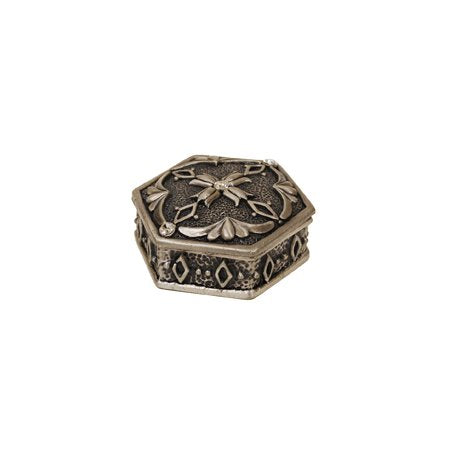 Octagon with 3 Crystals Pewter Jewelry Box