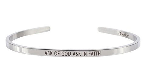 Pink Box 3mm Solid Stainless Steel Cuff Bracelet - Ask Of God Ask In Faith