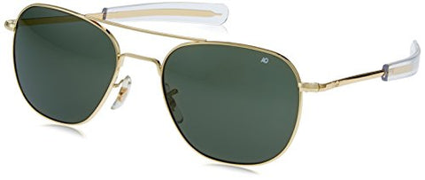 AO Original Pilot 57mm Gold Frame with Bayonet Temples and True Color Green Glass Lens