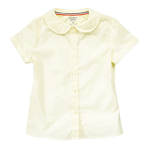 French Toast Big Girls' S/S Peter Pan Fitted Shirt - yellow, 18