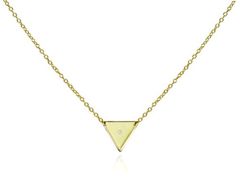 Triangle Pendant Necklace Solo CZ .925 Sterling Silver Pyramid Style Chain Length 16