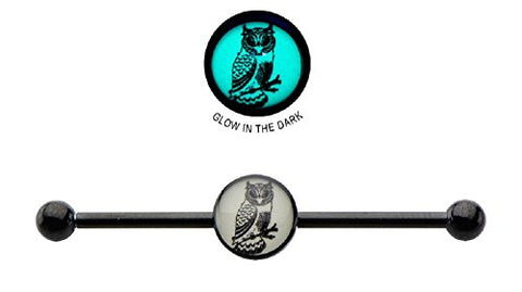 Industrial bar 316L Surgical 14g 1 3/8 8mm Glow In the Dark Owl Logo Industrial Barbell