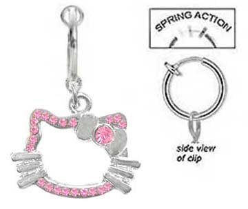 Fake Belly Navel Non Clip on Piercing Pink Hello Kitty Head Dangle Ring