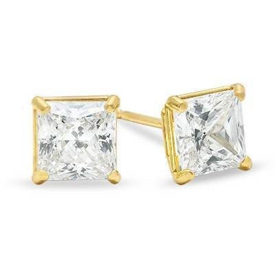 Unisex 14K Solid Yellow Gold 6mm Princess Square Cut Earrings CZ Free Box 38-25Y Size unisex