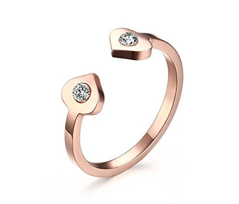 Vnox Womens Stainless Steel Two Cubic Zirconia Engagement Adjustable Cuff Open Ring Rose Gold Plated