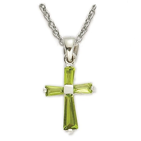 Sterling Silver August Birth Month Cross Pendant for Girl, 1/2 Inch