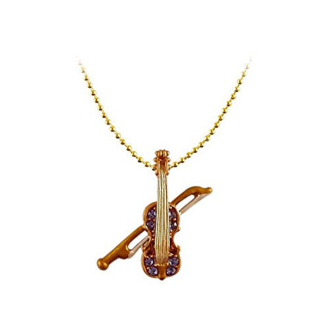 Viola Necklace (Handmade Gold Plated Crystal Music Instrument Pendant Necklace Jewelry RSN1395-BN)