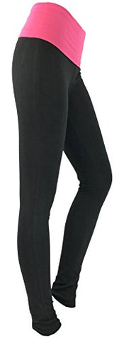 SALE Ladies Cotton Stretchy Black Yoga Legging with Fold Over Pink Waistband Small Size