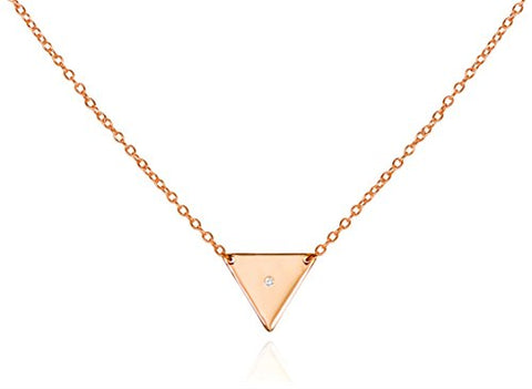 Triangle Pendant Necklace .925 Sterling Silver CZ Trendy Everyday Jewelry Length 16