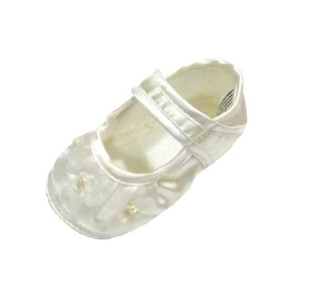 White Satin Shoes for Newborn Baby Girl (3.3  Length)