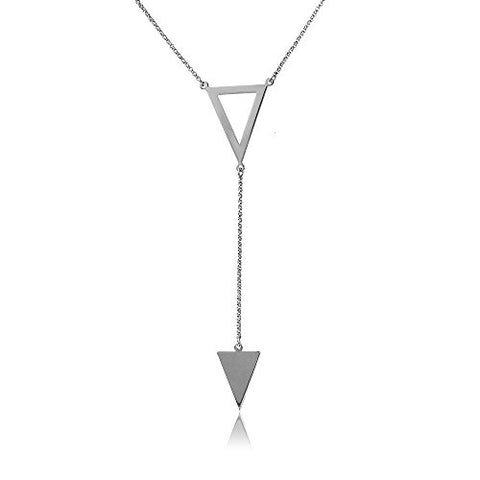 Sterling Silver Italian Triangle Y Shape Lariat Necklace, 16-17 Inches Adjustable