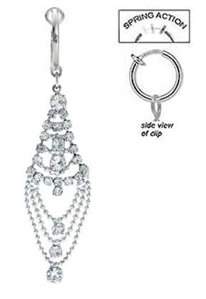 Fake Belly Navel Non Clip on Clear cz Long Chandelier Tear dangle Ring