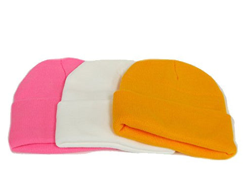 Knit Beanies / Pink, White & Golden Yellow