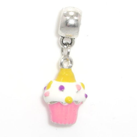 Jewelry Monster Silver Finish  Dangling Pink Painted Enamel Cupcake  Charm Bead for Snake Chain Charm Bracelet