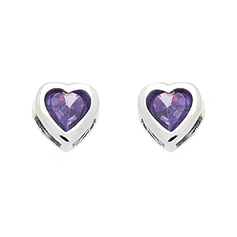 Sterling Silver Rhodium Plated Purple Heart CZ Stud Screwback Earrings