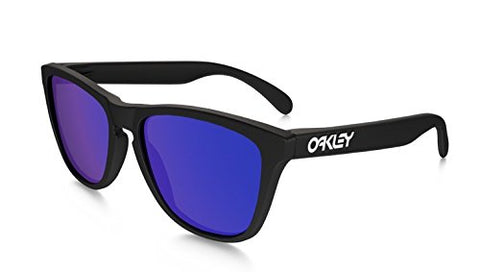 Oakley Mens Frogskins 24-298 Iridium Cat Eye Sunglasses,Matte Black Frame/Violet Lens,55 mm
