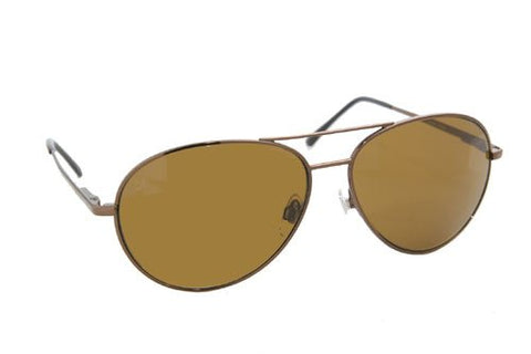 Coppermax 3708GPP BRN/AMBER Aviator Polarized Sunglasses - Shiny Brown - Amber Lens