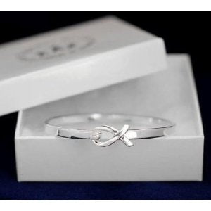 Silver Ribbon Cancer Support Awareness Generic Bangle Bracelet in Gift Box Brand New