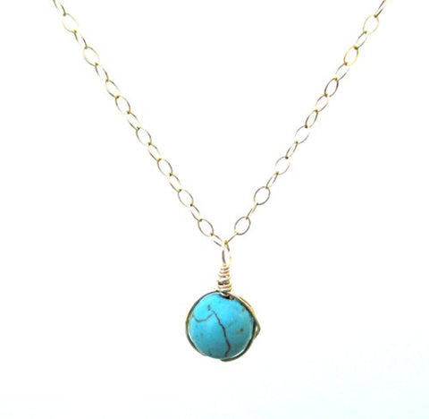 Small Turquoise Pendant Necklace 16 +2 , 14K Gold Filled Cable Chain