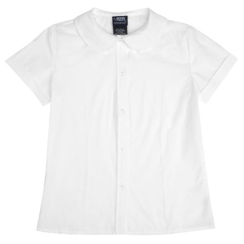 French Toast Short Sleeve Peter Pan Blouse (Sizes 7-20) - white, 7
