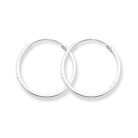 Sterling Silver Polished 21mm Endless Hoop Earrings