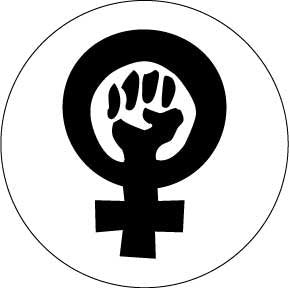 Women's Symbol With Fist / Feminist PINBACK BUTTON 1.25  Pin Badge