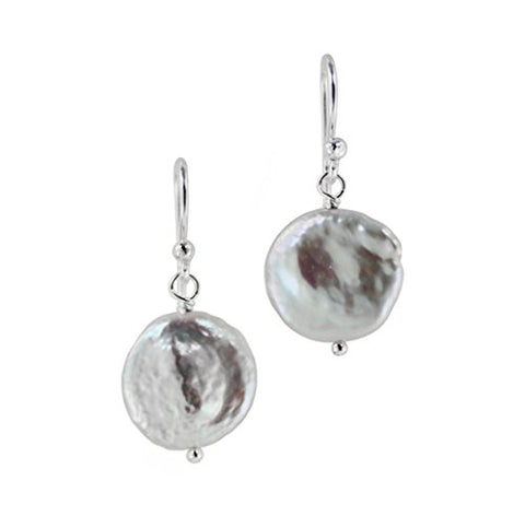 Sterling Silver Cultured Pearl Drop Earrings, White