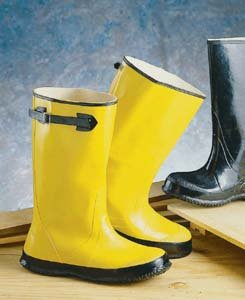 Pullover Rubber Slush Boots, Color Yellow, 17 high, Adjustable top strap, Size 9