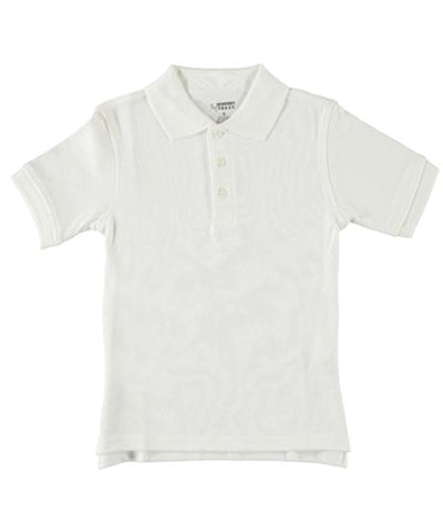 Unisex White Short Sleeve Knit Polo Shirt by French Toast (Size 18)