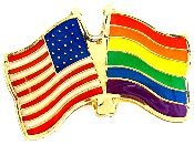 Rainbow/USA Flags Lapel Pin