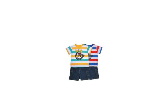Denim 2 Side Pockets Shorts with Happy Face Blue Red White Stripes Top 4t