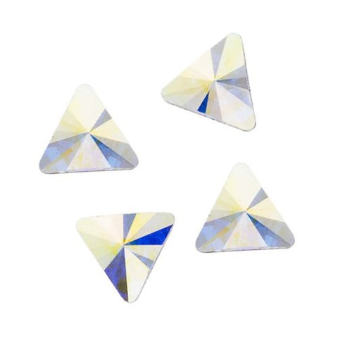 Swarovski Crystal, #2716 Rivoli Triangle Flatback Rhinestone 5mm, 10 Pieces, Crystal AB