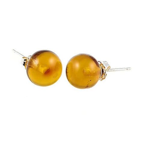 Trustmark 925 Sterling Silver 8mm Natural Baltic Honey Amber Ball Stud Post Earrings, Anya