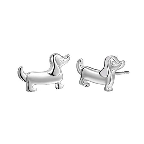 Qiandi Silver Plated Dachshund Sausage Dog Animal Stud Earrings Women Christmas Pet Lover Gift