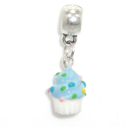 Jewelry Monster Silver Finish  Dangling Painted Enamel Cupcake  Charm Bead for Snake Chain Charm Bracelet