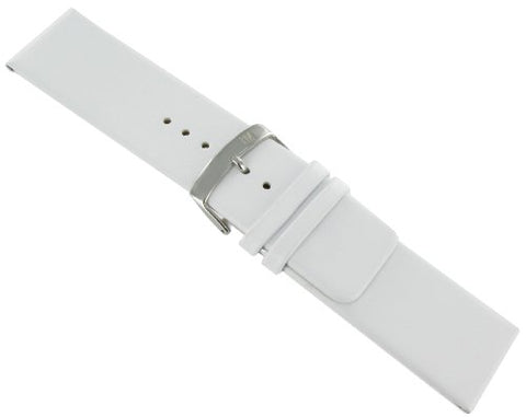 26mm Morellato Genuine Leather Flat Unstitched Square Tip White Watch Band Strap