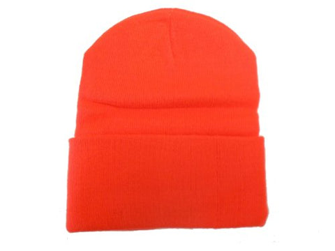 Hunter Orange Long Beanie / Knit Ski Hat / Warm In Winter!