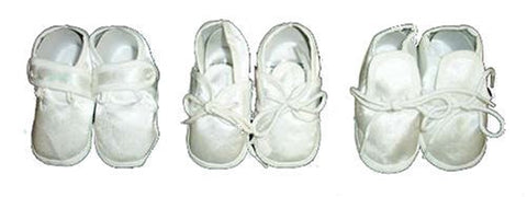 One Pair Newborn Boys White Satin Christening | Baptism Soft Sole Shoes