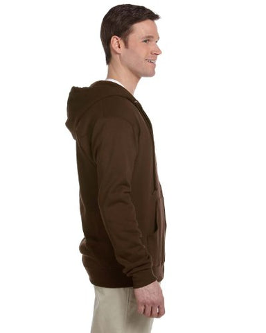 Jerzees mens 8 oz. 50/50 NuBlend Fleece Full-Zip Hood(993)-CHOCOLATE-2XL